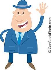personagem, feliz, ou, caricatura, homem negócios, homem