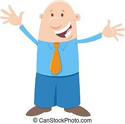 personagem, feliz, ou, homem negócios, cômico, homem