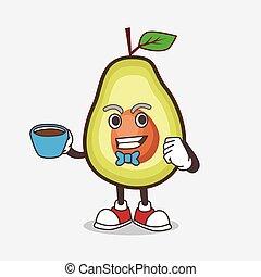 personagem, fruta, copo, abacate, caricatura, mascote, café