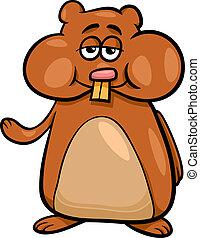 personagem, hamster, ilustração, caricatura