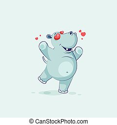 personagem, hipopótamo, amor, caricatura, emoji