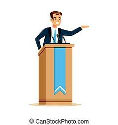 personagem, ilustração, tribuna, vetorial, orador, orador, discurso público