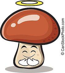personagem, inocente, cogumelo, caricatura