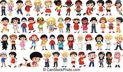 personagem, jogo, multicultural, crianças