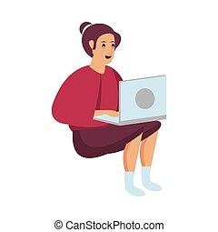 personagem, laptop, mulher, trabalhando