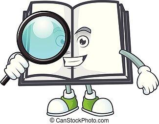 personagem, livro, estilo, detetive, mascote, abertos