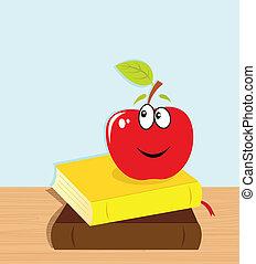 personagem, livros, maçã