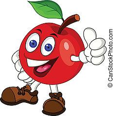 personagem, maçã, vermelho, caricatura