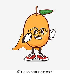 personagem, mascote, herói super, fruta, caricatura, loquat, vestido