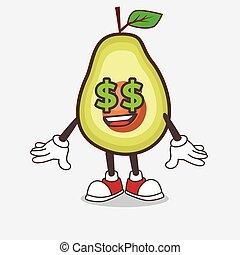 personagem, mascote, símbolo, fruta, abacate, dinheiro, caricatura, olhos