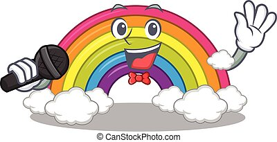 personagem, microfone, cantor, arco íris, segurando, caricatura, talentoso