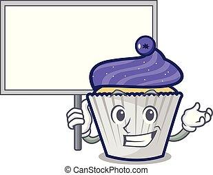 personagem, mirtilo, trazer, tábua, cupcake, caricatura