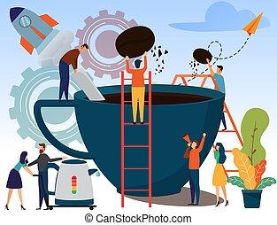 personagem, modernos, producao, ilustração, caricatura, pessoas, cobrança, conceito, fábrica, negócio, café, cup., vetorial, fazer, comercial, indústria, estilo, apartamento, espresso, grande, vector.