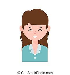 personagem, mulher jovem, sorrindo, retrato