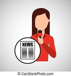 personagem, mulher, repórter, notícia, manchete, microfone,...