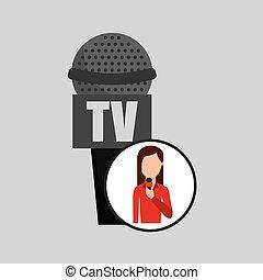 personagem, mulher, repórter, notícia, microfone, tv, gráfico