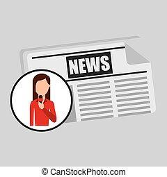 personagem, mulher, repórter, notícia, modelo, gráfico
