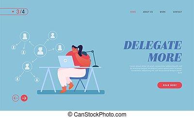 personagem, mulher, tasks., ilustração, aterragem, workflow, produtivo, vetorial, template., esquema, página, caricatura, autoridade, responsabilidades, laptop, delegação, trabalhando, seta, negócio, delegar