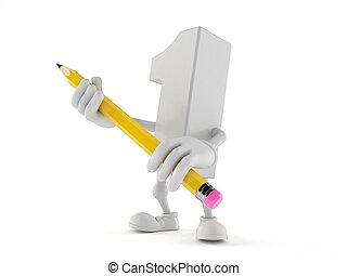 personagem, número, segurando, um, lápis
