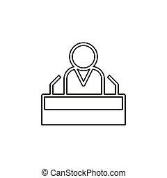 personagem, orador, presidente, fala, público, ícone