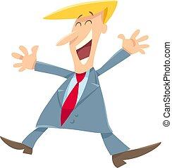 personagem, ou, homem negócios, feliz, caricatura, homem