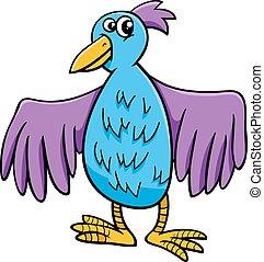 personagem, pássaro, ilustração, caricatura
