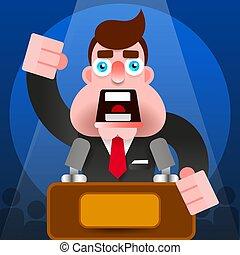 personagem, -, pódio, vetorial, orador, presidente, fala, público, ícone