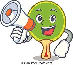personagem, ping, raquete, pong, megafone, caricatura