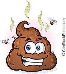 personagem, poop, pilha, caricatura