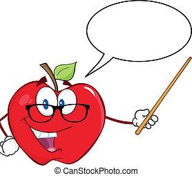 personagem, professor, sorrindo, maçã