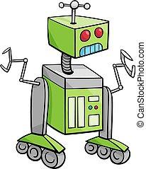 personagem, robô, ilustração, caricatura