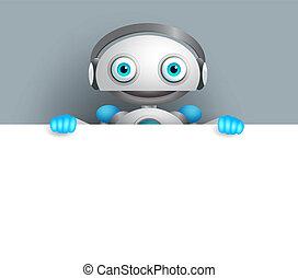 personagem, robô, vetorial, tábua, segurando, em branco, sorrizo, branca, amigável