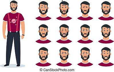 personagem, rosto, diferente, caricatura, zangado, expressions., emoções, jogo, feliz, guy., avatar, construtor, vetorial, homem, surpreendido, triste