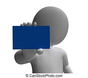 personagem, saudação, segurado, mensagem, cartão, mostra