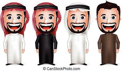personagem, saudita, árabe, homem negócios