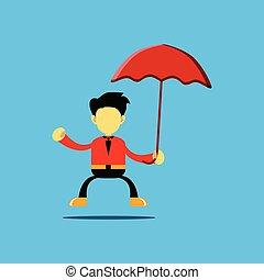 personagem, segurando guarda-chuva, ilustração, caricatura