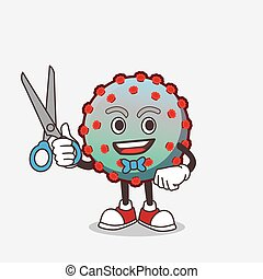 personagem, tesouras, caricatura, vírus, mascote, sorrindo, barbeiro, mão