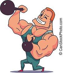 personagem, vetorial, kettlebells., músculo, caricatura, homem