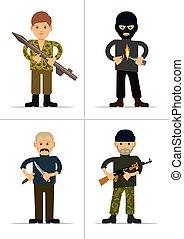 personages., ensemble, terroristes
