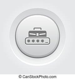 Personal Access Icon. Grey Button Design.