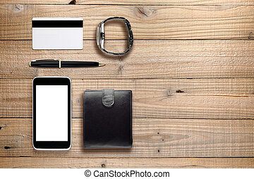Personal accessories and objects on wooden background