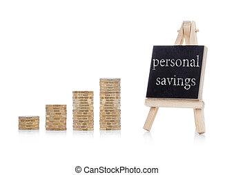 personal, ahorros, concepto, texto, en, pizarra