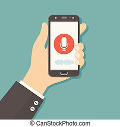 Concept flat vector illustration of human hand holds smartphone with microphone button on screen