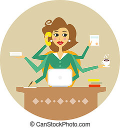 Personal assistant or hard working secretary symbol vector illustration