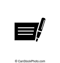 Personal Bank Money Check with Pen Flat Vector Icon