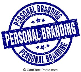 personal branding blue round grunge stamp