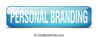 personal branding blue square 3d realistic isolated web button