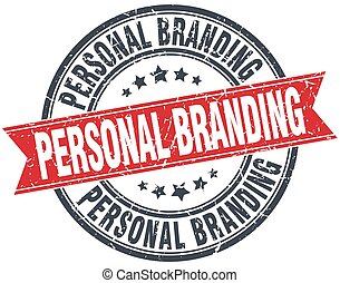 personal branding red round grunge vintage ribbon stamp
