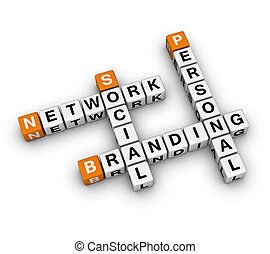 Personal Branding Social Network (3D crossword orange...
