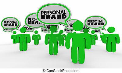 personal, burbujas, marca, mercado, gente, usted mismo, discurso, ilustración, 3d